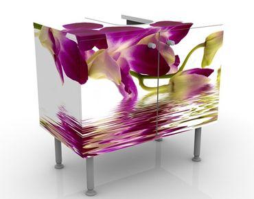 Waschbeckenunterschrank - Pink Orchid Waters - Blumen Badschrank Weiß