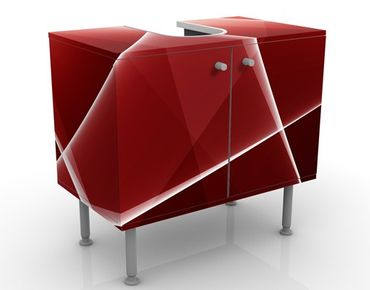 Waschbeckenunterschrank - Red Reflection - Badschrank Rot