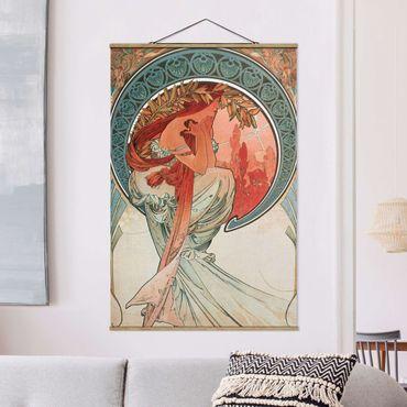 Stoffbild mit Posterleisten - Alfons Mucha - Vier Künste - Die Poesie - Hochformat 3:2