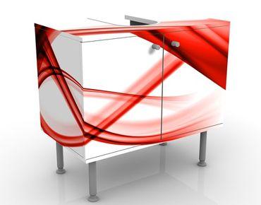 Waschbeckenunterschrank - Red Element - Badschrank Weiß Rot
