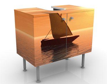 Waschbeckenunterschrank - Romantic Sailing - Maritim Badschrank Orange Beige