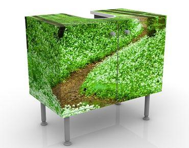Waschbeckenunterschrank - Romantischer Waldweg - Badschrank Grün