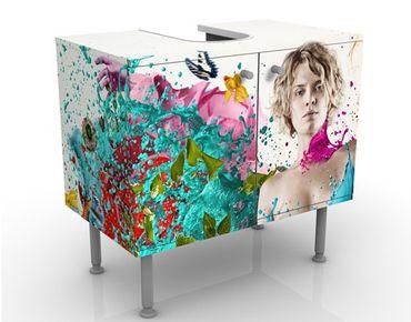Waschbeckenunterschrank - Beflügelte Gedanken - Badschrank Bunt