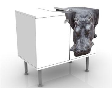 Waschbeckenunterschrank - Flusspferd - Badschrank Weiß Grau