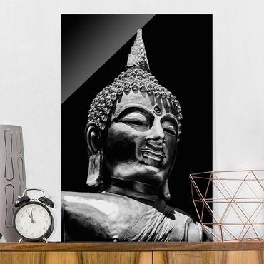 Glasbild - Buddha Statue Gesicht - Hochformat 3:2