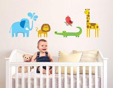 Wandtattoo Löwe Elefant Giraffe No.BP2 Zootiere