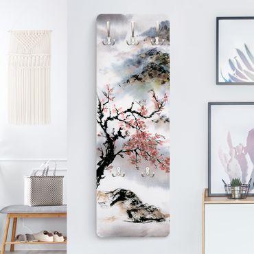 Garderobe - Japanische Aquarell Zeichnung Kirschbaum und Berge