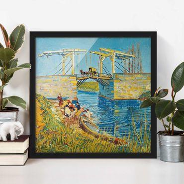 Bild mit Rahmen - Vincent van Gogh - Zugbrücke in Arles - Quadrat 1:1