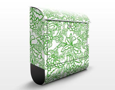 Briefkasten mit Zeitungsfach - Orientalische Ranken Muster - Briefkasten Blumen Grün