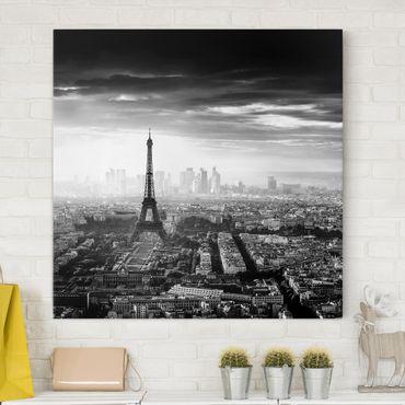 Leinwandbild - Der Eiffelturm von Oben Schwarz-weiß - Quadrat 1:1