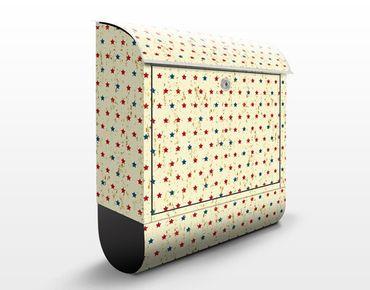 Wandbriefkasten - Design mit Sternen - Briefkasten Beige