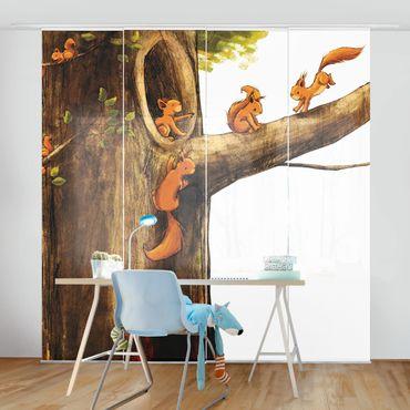 Schiebegardinen Set - Zuhause der Einhörnchen - Flächenvorhänge