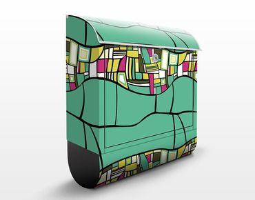 Wandbriefkasten - Abstraktes Musterdesign Türkis - Briefkasten Bunt
