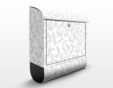 Briefkasten mit Zeitungsfach - Zick-Zack Ornament Hell - Modern Grau