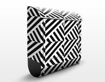 Briefkasten - Streifen Rapportmuster - Streifenmuster Schwarz-Weiß