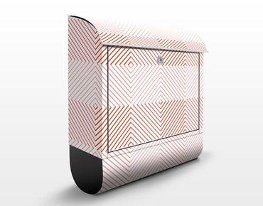 Briefkasten mit Zeitungsfach - Streifen Muster in Rosa - Streifenmuster