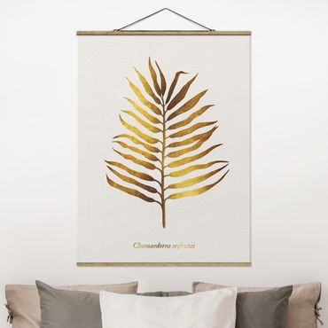 Stoffbild mit Posterleisten - Gold - Palmenblatt II - Hochformat 4:3