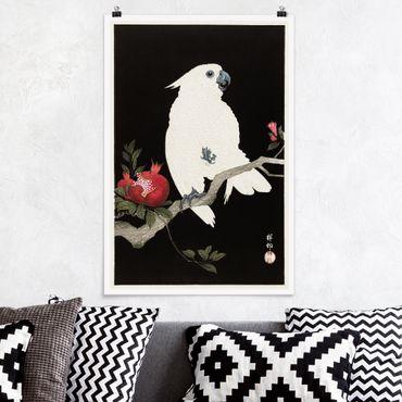 Poster - Asiatische Vintage Illustration Weißer Kakadu - Hochformat 3:2