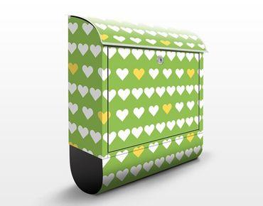 Wandbriefkasten - Frisch Verliebt Musterdesign - Briefkasten Grün