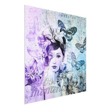 Forex Fine Art Print - Shabby Chic Collage - Portrait mit Schmetterlingen - Quadrat 1:1