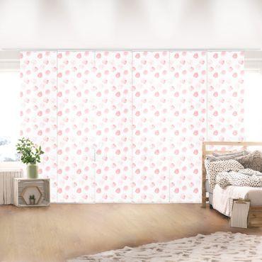 Schiebegardinen Set - Aquarell Punkte Rosa - 6 Flächenvorhänge