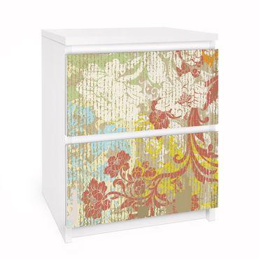 Möbelfolie für IKEA Malm Kommode - Selbstklebefolie Blüten vergangener Zeit