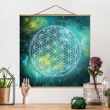 Stoffbild mit Posterleisten - Blume des Lebens im Licht der Sterne - Quadrat 1:1