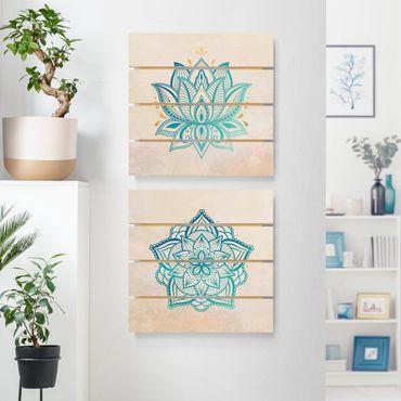Holzbild 2-teilig - Mandala Hamsa Hand Lotus Set gold blau - Quadrate 1:1