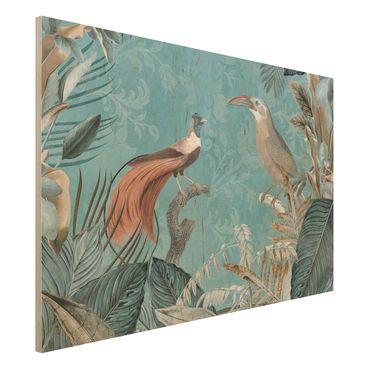 Holzbild - Vintage Collage - Paradiesvögel - Querformat 2:3