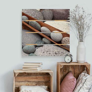 Holzbild - Stillleben mit grauen Steinen - Quadrat 1:1