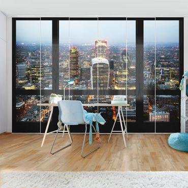 Schiebegardinen Set - Fensterblick auf beleuchtete Skyline von London - Flächenvorhänge