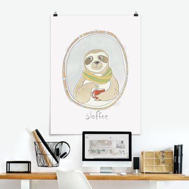 Poster - Koffeinhaltiges Faultier - Hochformat 3:4