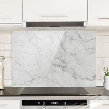 Spritzschutz Glas - Bianco Carrara - Querformat - 3:2
