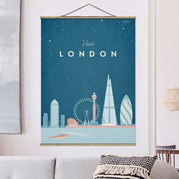 Stoffbild mit Posterleisten - Reiseposter - London - Hochformat 4:3