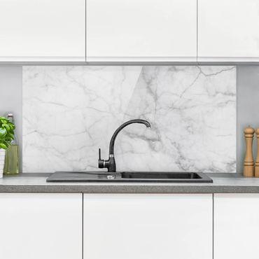 Spritzschutz Glas - Bianco Carrara - Querformat - 2:1