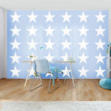 Schiebegardinen Set - Große Weiße Sterne auf Blau - Flächenvorhänge