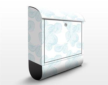 Wandbriefkasten - Aqua Paisley Hell - Briefkasten Weiß