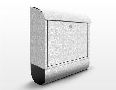 Briefkasten mit Zeitungsfach - Modernes Ornament Grau - Wandbriefkasten Grau