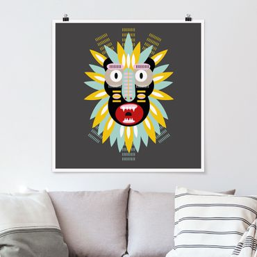 Poster - Collage Ethno Maske - King Kong - Quadrat 1:1