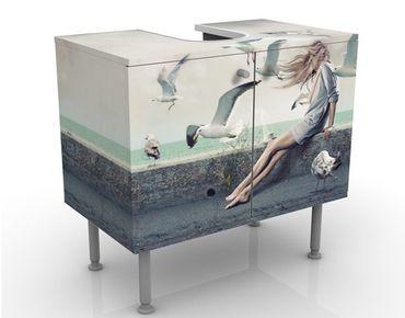 Waschbeckenunterschrank - Kaffee am Meer - Maritim Badschrank Weiß
