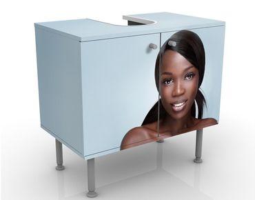 Waschbeckenunterschrank - Black Beauty Close Up - Badschrank Weiß Braun