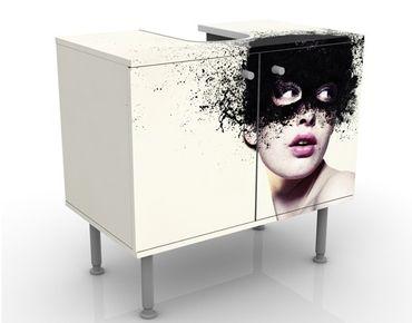 Waschbeckenunterschrank - Das Mädchen mit der schwarzen Maske - Badschrank Weiß Schwarz