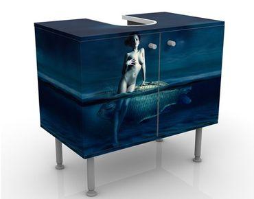 Waschbeckenunterschrank - Frauenakt mit Fisch - Badschrank Blau