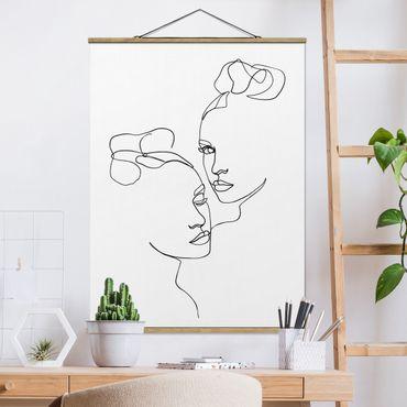 Stoffbild mit Posterleisten - Line Art Gesichter Frauen Schwarz Weiß - Hochformat 4:3