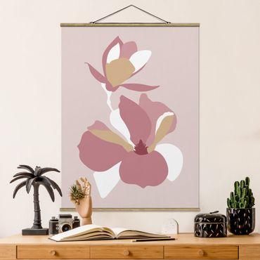 Stoffbild mit Posterleisten - Line Art Blüten Pastell Rosa - Hochformat 4:3