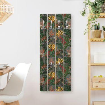 Wandgarderobe Holz - Tropische Farne mit Tucan Grün - Haken chrom Hochformat
