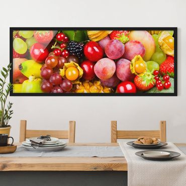 Bild mit Rahmen - Colourful Exotic Fruits - Panorama Querformat