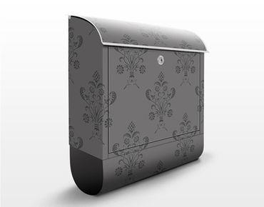 Briefkasten mit Zeitungsfach - Romantisches Bouquet Dunkel - Wandbriefkasten Grau