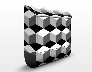 Wandbriefkasten - Würfeliges Grafikdesign - Briefkasten Grau