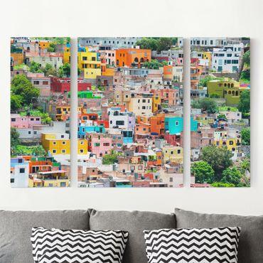 Leinwandbild 3-teilig - Farbige Häuserfront Guanajuato - Triptychon